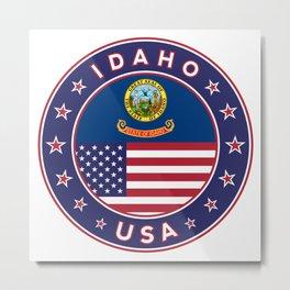 Idaho, Idaho t-shirt, Idaho sticker, circle, Idaho flag, white bg Metal Print