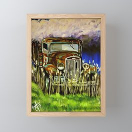 Grandpa's Truck Farm Farmer Ranch Rancher Work Antique Old Rusted Vehicle Stormy Sky Field Clouds  Framed Mini Art Print