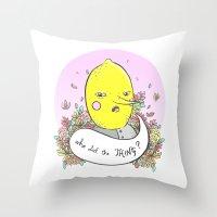 lemongrab Throw Pillows featuring Earl of Lemongrab Tribute by Sonia Lazo