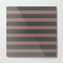 Brown Chocolate Stripes on Gray Background Metal Print
