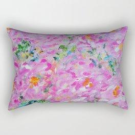 Pink Peonies Garden, Abstract Pink Wall Art, Pink Home Decor Rectangular Pillow