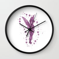 tinker bell Wall Clocks featuring Disneys Tinker Bell by Carma Zoe