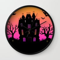 haunted mansion Wall Clocks featuring Haunted Silhouette Rainbow Mansion by rainbowdreams