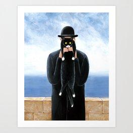 Man with a cat Art Print