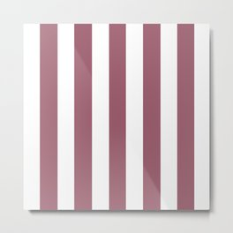Rose Dust purple - solid color - white vertical lines pattern Metal Print