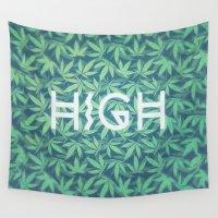 cannabis Wall Tapestries featuring HIGH TYPO! Cannabis / Hemp / 420 / Marijuana  - Pattern by badbugs_art