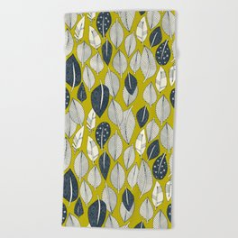 leaves and feathers chartreuse Beach Towel