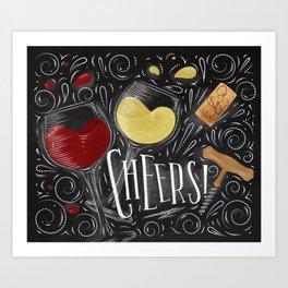 Cheers black Art Print
