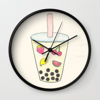boba Wall Clocks featuring Boba by Anastasia Flowers