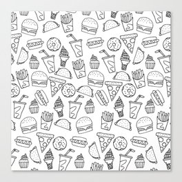 Fast Food Monoline Doodles Canvas Print