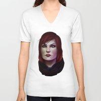 mass effect V-neck T-shirts featuring Mass Effect: Commander Shepard by Ruthie Hammerschlag