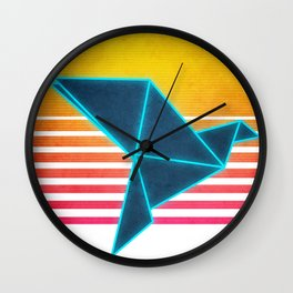 Neon Retro Synthwave Origami Wall Clock