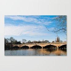 Serpentine Bridge and Lake in London Canvas Print