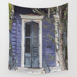 New Orleans Blue Marigny Door Wall Tapestry
