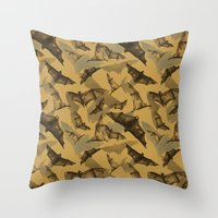 bats Throw Pillows featuring Bats by Deborah Panesar Illustration