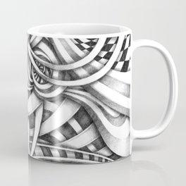 Escher Like Abstract Hand Drawn Graphite Gray Depth Coffee Mug