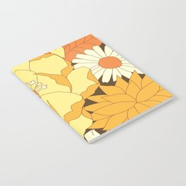 Yellow, Orange and Brown Vintage Floral Pattern Notebook