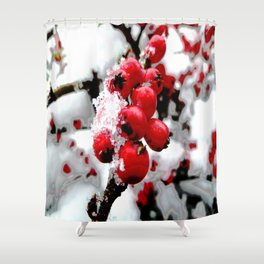Bright Red Berries Shower Curtain