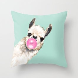 Bubble Gum Sneaky Llama in Green Throw Pillow
