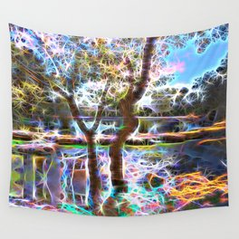 Trees Pond and Light Streams Wall Tapestry