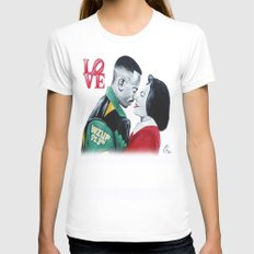 Black Love - Martin & Gina White LARGE Womens Fitted Tee
