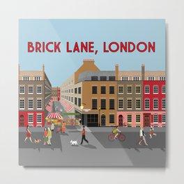 Brick Lane, London - Street Scene Art Print Metal Print