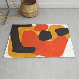 Minimalist Abstract Colorful Shapes Yellow Orange Black Mid Century Art Rug