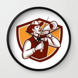 Cowboy Auctioneer Bullhorn Gavel Shield Wall Clock