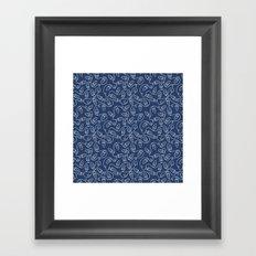 Seamless Christmas Lights (Blue) Framed Art Print
