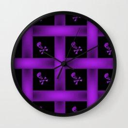 Purple Skull Pattern Wall Clock