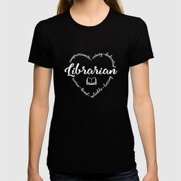 Librarian with book and heart design T-shirt