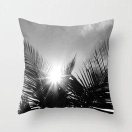 Sunlight through the palms Throw Pillow