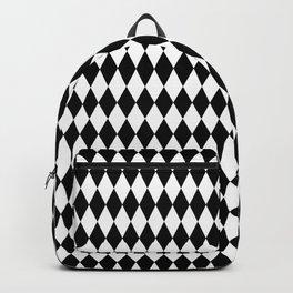 Black and White Harlequin Wonderland Pattern C15 Alice in Illustration Backpack