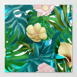 Flowers on the pool Canvas Print