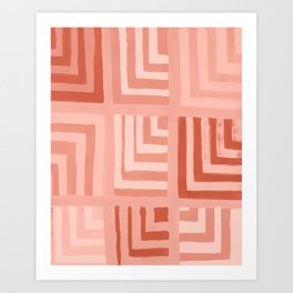 Painted Color Block Squares in Peach Art Print