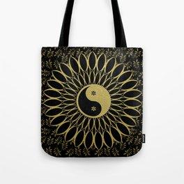 'Yin Yang Golden Daisy' Gold Black mandala Tote Bag