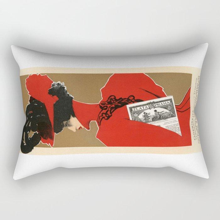 Belle Epoque vintage poster, Zlata Praha Rectangular Pillow