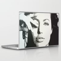angelina jolie Laptop & iPad Skins featuring angelina jolie grayscale by Nechifor Ionut