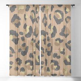 Leopard Print – Neutral & Gold Palette Sheer Curtain