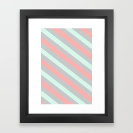 Mint, Coral and Gray Diagonal Stripes Framed Art Print