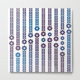Ink Retro Flowers Metal Print