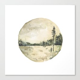 Watercolor Forest and Water Landscape Canvas Print