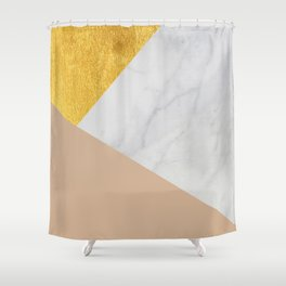 Carrara Marble with Gold and Pantone Hazelnut Color Shower Curtain