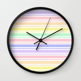Pastel Rainbow Stripes Wall Clock