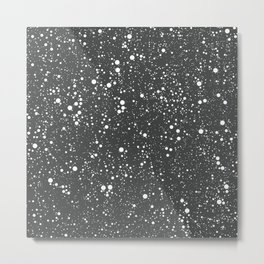 Chaotic circles pattern. Dark Grey. Metal Print