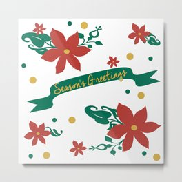 Season's Greetings Floral Pattern 1 Metal Print