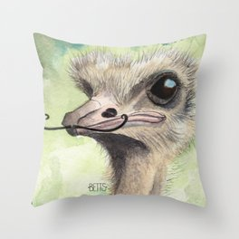 Ostrich 'Stache Throw Pillow