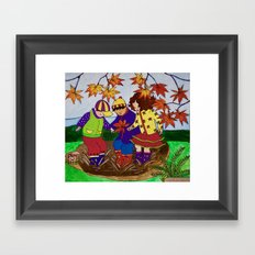 Fall Leaves and Mud Puddles Framed Art Print