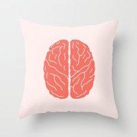 brain Throw Pillows featuring Brain by Yellow Chair Design