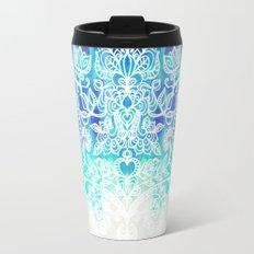 Indigo & Aqua Abstract - doodle painting Travel Mug